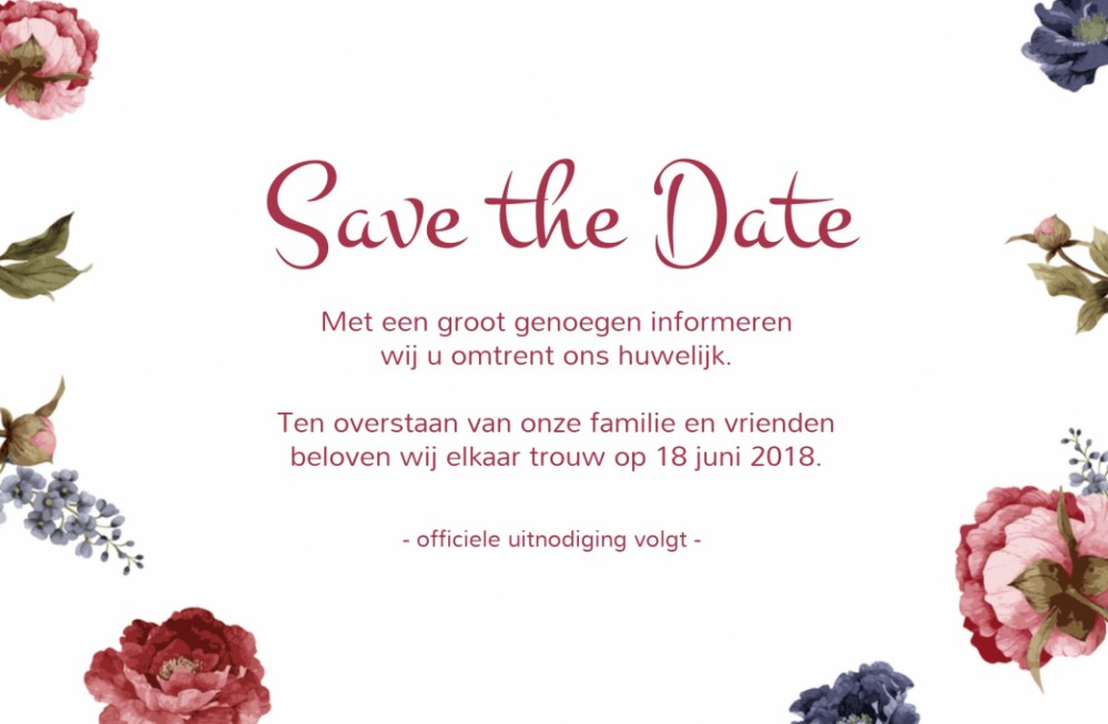 Save the date Pioenrozen / 15x10 enkel voor