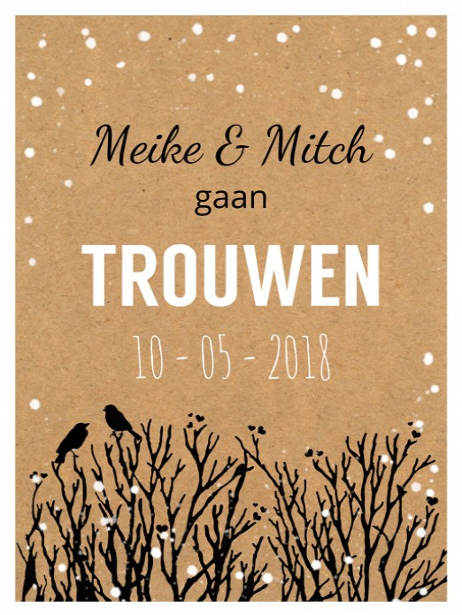 Trouwkaart Winter kraft - Hip voor